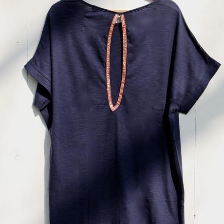◆Mon ange Louise◆ CHILL T-SHIRT DRESS ビーチドレス コットンワンピース(navy)