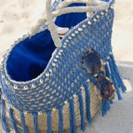 ◆Mon ange Louise◆ BAG CROCHET かごバッグ (eagan blue)