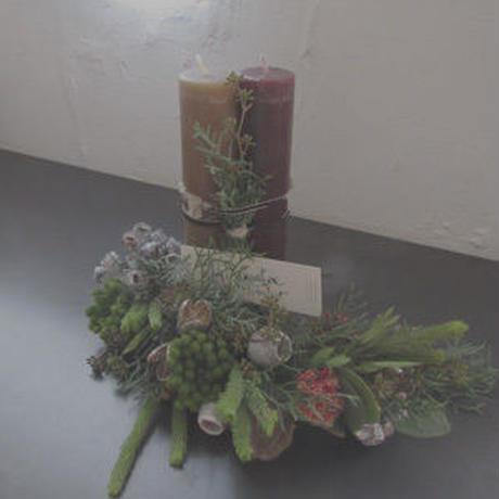 Christmas  design キャンドル+フレッシュフラワーガーランド