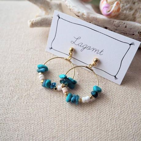 天然石のフープピアス(turquoise)