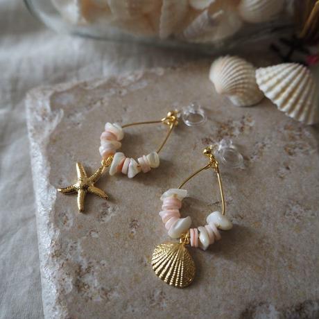 フープイヤリング pink shell(mini)/ Lagomt