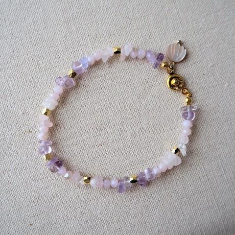 シェル付き天然石ブレスレット(pink)
