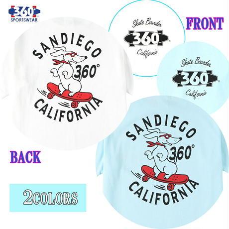 送料無料 SALE 50%OFF 360° SPORTSWEAR (スリーシックスティ スポーツウエア) Tシャツ メンズ レディース THSX-069 ヘビーウエイト スケーター ドッグデザイン