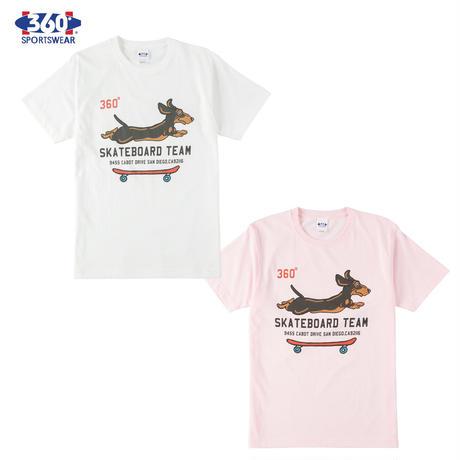 360° SPORTSWEAR (スリーシックスティ スポーツウエア) Tシャツ メンズ レディース THSX-053 6.2oz ヘビーウエイト スケーター 犬 ドッグデザイン 西海岸 アメカジ