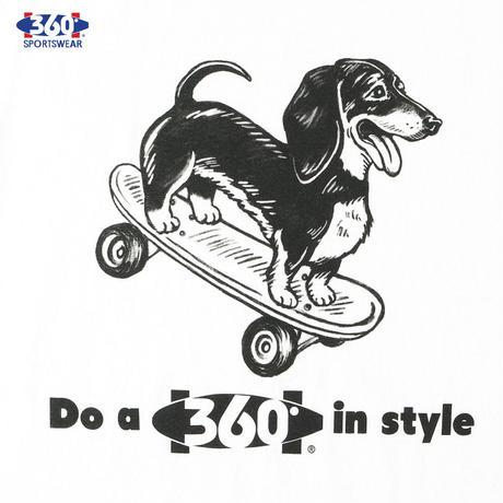 360° SPORTSWEAR (スリーシックスティ スポーツウエア) Tシャツ メンズ レディース THSX-054 6.2oz ヘビーウエイト スケーター 犬 ドッグデザイン 西海岸 アメカジ