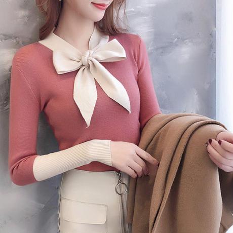 リボン付きニットセーター