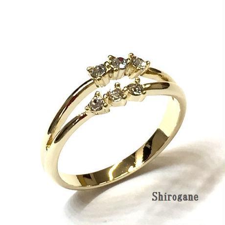 指輪 スワロフスキーツインフレームリング ニッケルフリーG  sg◆BR-791-LG-F
