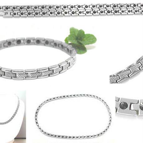美容 健康 ブレスレット◆チタン製 255個のゲルマニウム ネックレス&ブレスセット ◆K8305