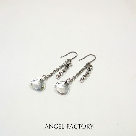 チタンフックピアス ガラスストーン&ショートシャンデリア ANGEL FACTORY lalalady-198