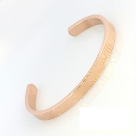 ブレスレット ステンレス製◆6ミリ幅 ピンクゴールド アトラスローマ数字 オープンバングル◆BU-8135