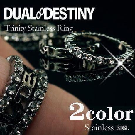指輪 リング◆2色 ロゴ×エタニティクリスタル 3連トリプルリング◆OSD-3RWB