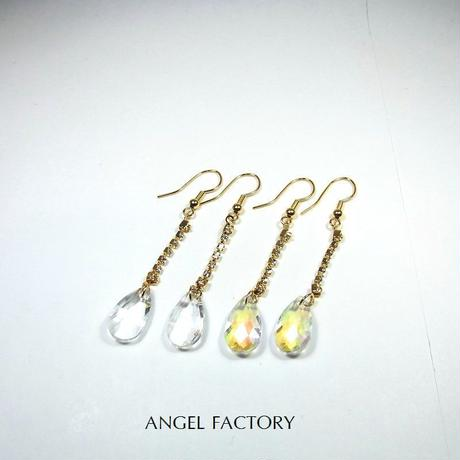K16GPフックピアス A級ガラス ティアドロップ ゴールドシャンデリア ANGEL FACTORY lalalady-203