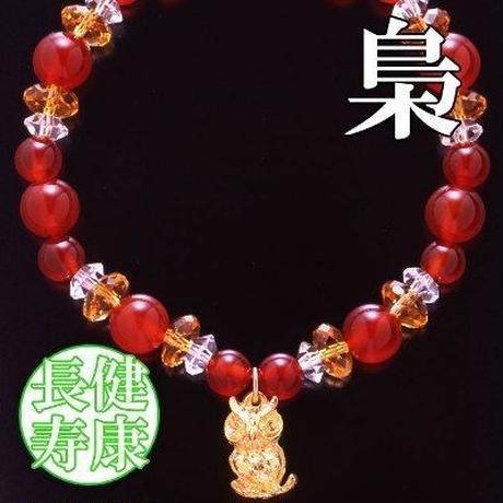 天然石 パワーストーン 全体 金運 赤メノウ・不苦労ブレスレット HR◆5172