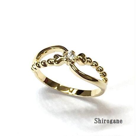 指輪  ハート&クリスタルピンキーリング ニッケルフリーG  sg◆BR-166-LG-F