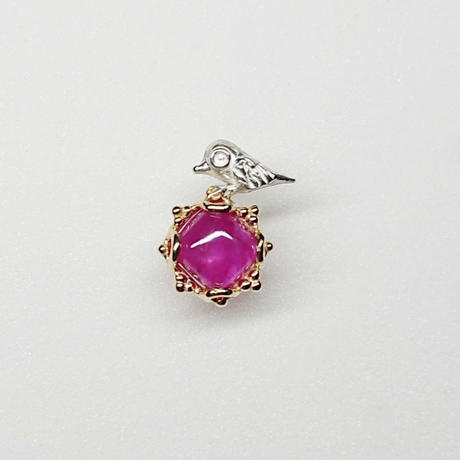 Silver(k18gp) Single earring (Tiny bird - Ruby)