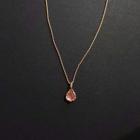 Silver(K18Gp) Necklace (Pink tourmaline)