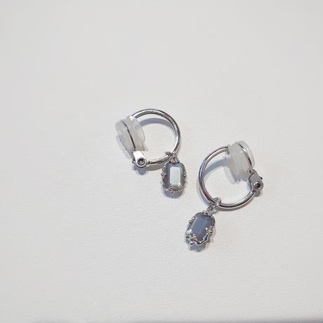 20P84 SV(Rh) Earrings (Gray moonstone)
