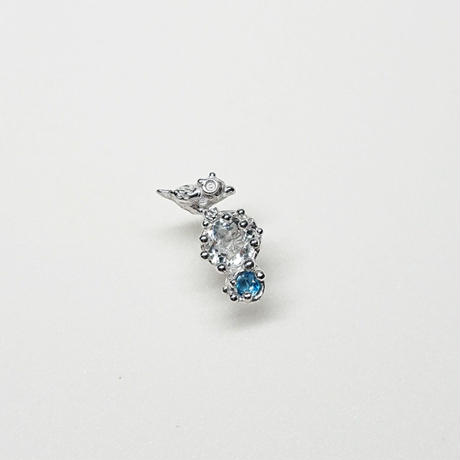 Silver(RH) Single earring (Tiny bird - Crystal/London blue topaz)