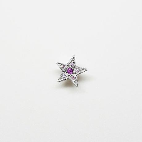 Silver(RH) Single earring (Star - Rhodolite Garnet / Pink sapphire)