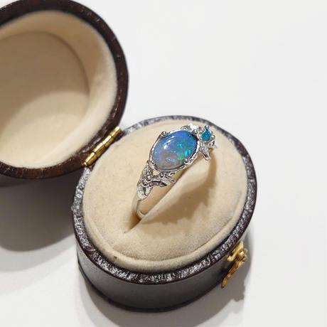 Silver(Rh) Ring (Black opal)