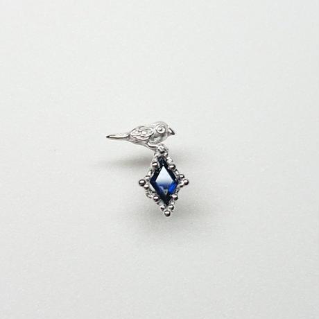 Silver(RH) Single earring (Tiny bird - Blue sapphire)