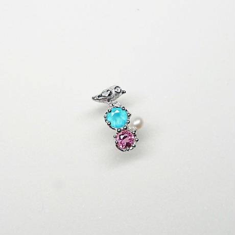 Silver(RH) Single earring (Tiny bird - Sea blue chalcedony/Pink topaz/Pearl)