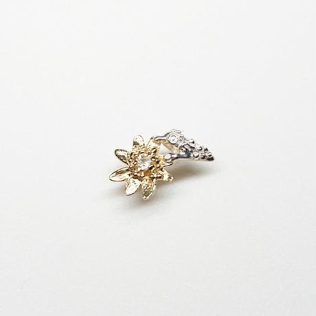 Silver(k18gp) Single earring (Tiny bird - Topaz)
