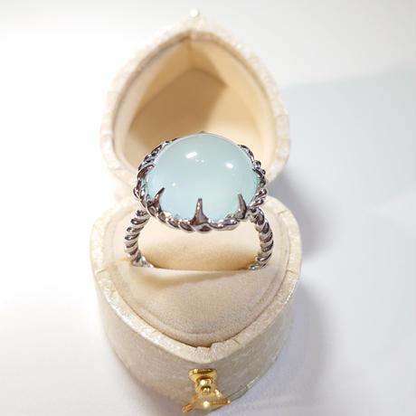 Silver(Rh) Ring(Aquamarine)