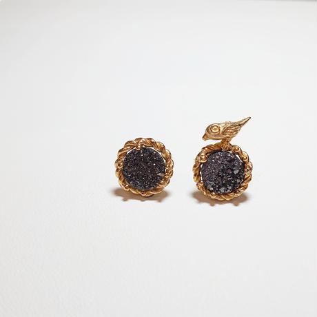 SV(K18Gp) Earrings (Tiny bird - Druzy agate)