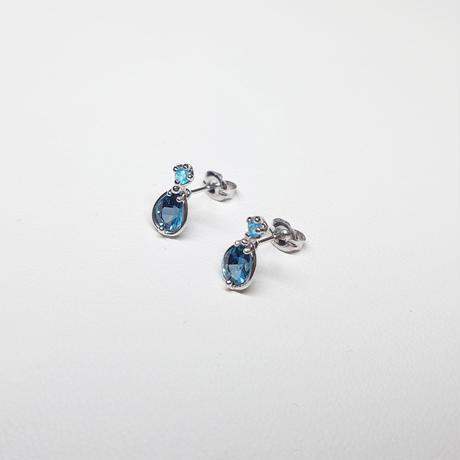 SV(Rh) Earrings (London blue topaz/Chalcedony)