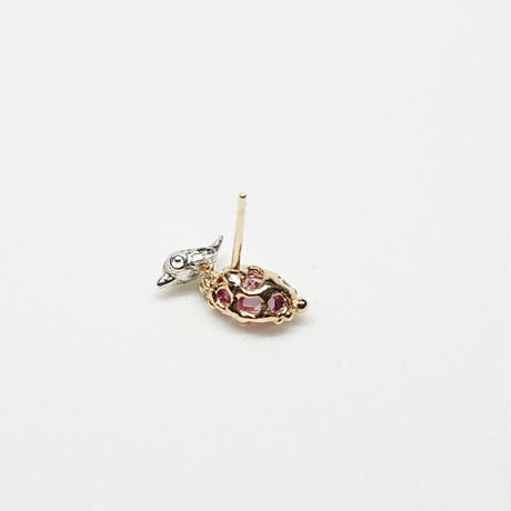Silver(k18gp) Single earring (Tiny bird - Pink tourmaline)