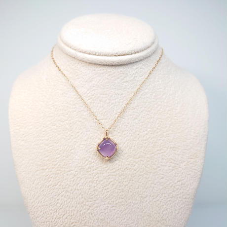 21P33  Silver(K18Gp) Necklace (Chalcedony)