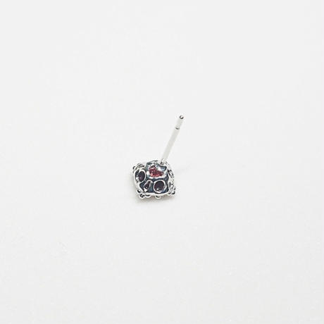 Silver(RH) Single earring (Garnet)