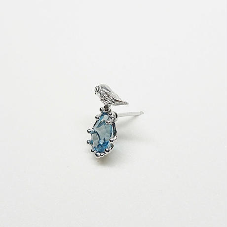 Silver(RH) Single earring (Tiny bird - London blue topaz)
