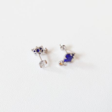 SV(Rh) Earrings (Lapis lazuli/Citrine)