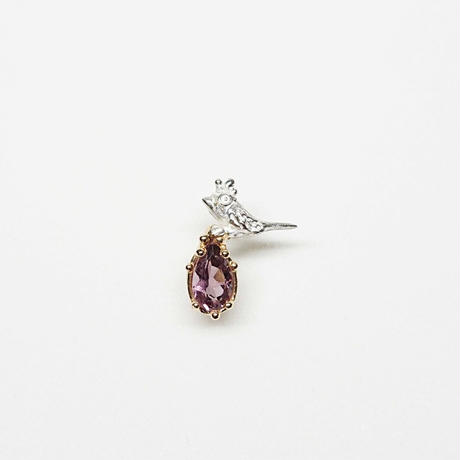 Silver(k18gp) Single earring (Tiny bird - Pink tourmaline)