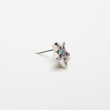Silver(RH) Single earring (Star - Blue topaz / Ruby)