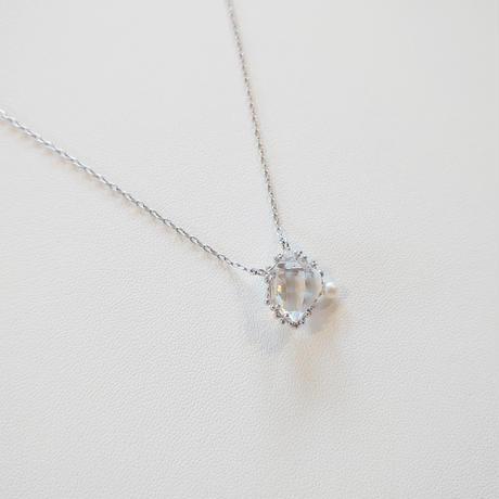 Silver(Rh) Necklace (Quartz/Pearl)