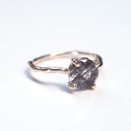 Charm Ring  №338 / Black Rutilated Quartz