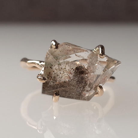 Charm Ring  №413 /Garden Quartz