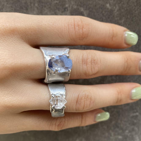 Charm Ring  №444 / Dumortierite in quartz