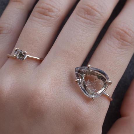 Charm Ring  №425 / Pink  Fire Quartz