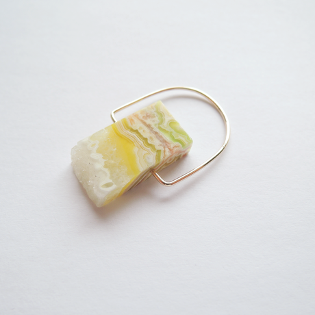 K10 race agate ring yellow