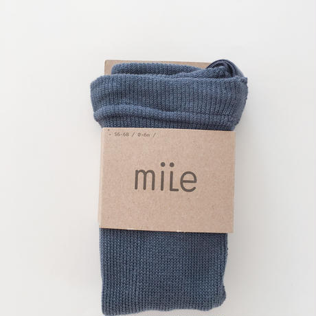 【mile】cotton tights with braces/steel blue
