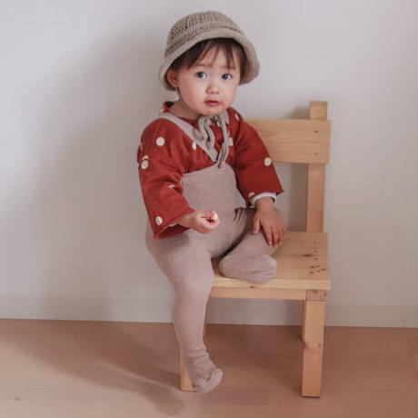 【mile】cotton tights with braces/beige