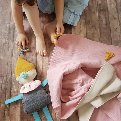 【rokka design】Hemp/muslin baby blanket - pink