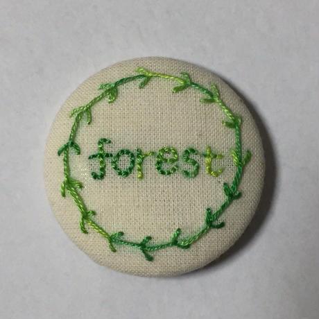 手作り刺繍月桂樹のバッジ(forest)No.001