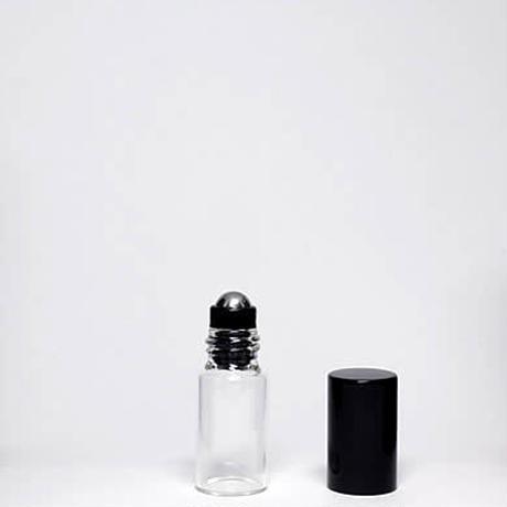 GRB-101-030  3mlクリアガラスブラックキャップロールオンボトル5個セット