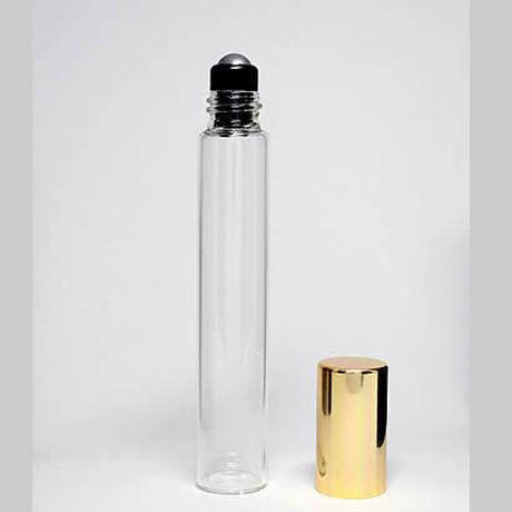 10mlクリアガラスゴールドキャップロールオンボトル 5個セット