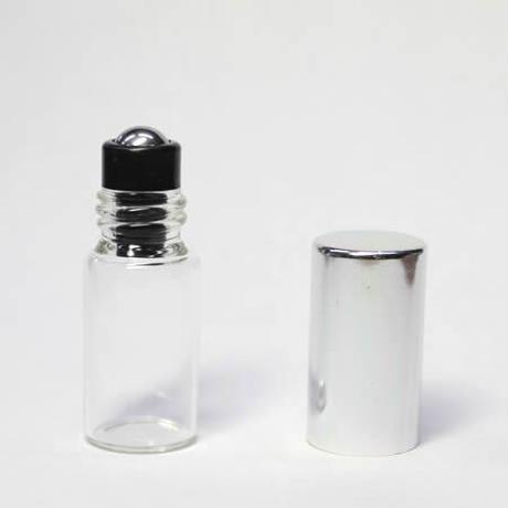 3mlガラスロールオンボトル シルバーキャップ  5個セット